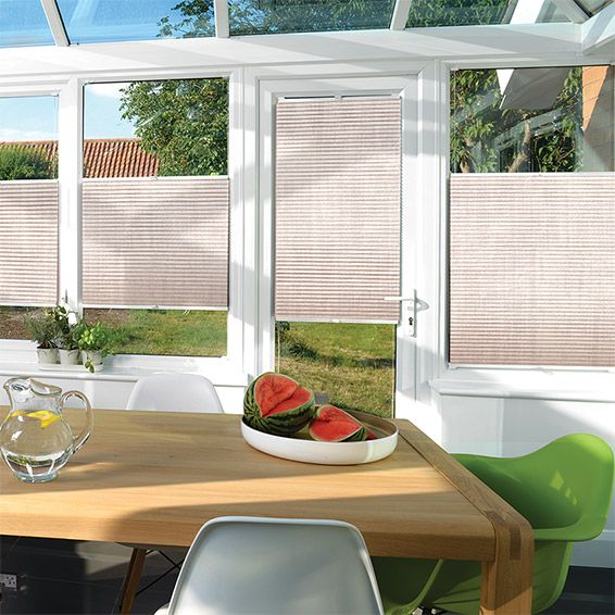 Light and airy, this EasiFIT DuoLight Barley pleated blind lets your conservatory to bask in a gentle glow, with the look of textured fabric adorning your windows.