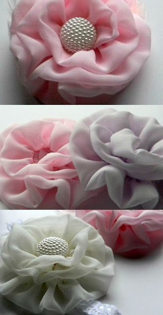 Idea for ruffled rosette - use satin for soft look of flower and add a pretty button, pearl or ear-ring for the centre.