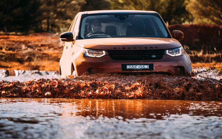 Download wallpapers Land Rover Discovery Sport, offroad, 2017 cars, mud, new Discovery Sport, river, Land Rover