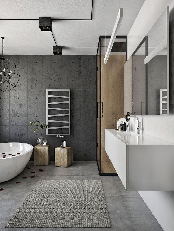 Exposed Cement Wall For The Modern Bathroom In Neutral Hues