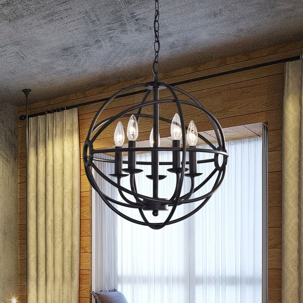 Benita 5 Light Antique Black Metal Strap Globe Chandelier Bronze Iron