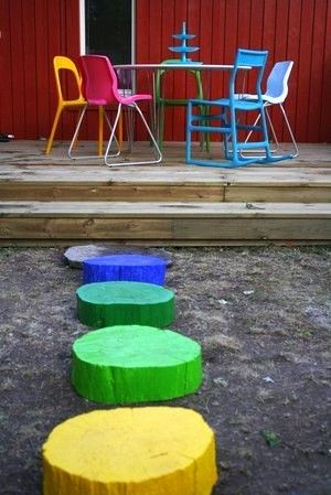 colored jumping stumps