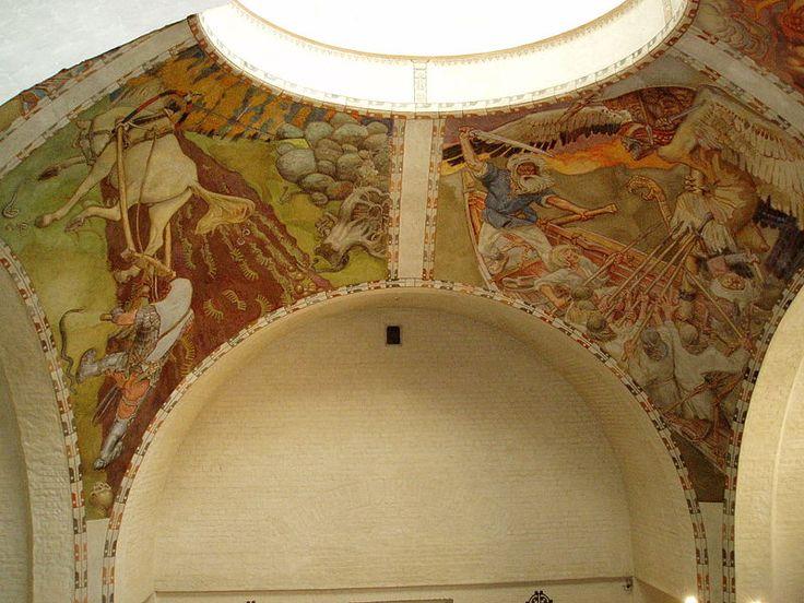 National Museum, frescoes by Akseli Gallen-Kallela  -  Kansallismuseo, Gallen-Kallelan freskot  Photograph by Ohto Kokko