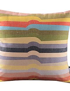 Rainbow Irregular Stripe Cotton/Linen Decorative Pillow Cove... – USD $ 14.99