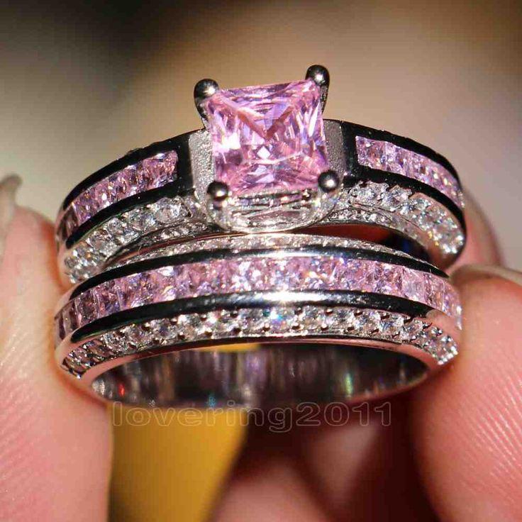 Pink Princess Cut Diamond Engagement Rings