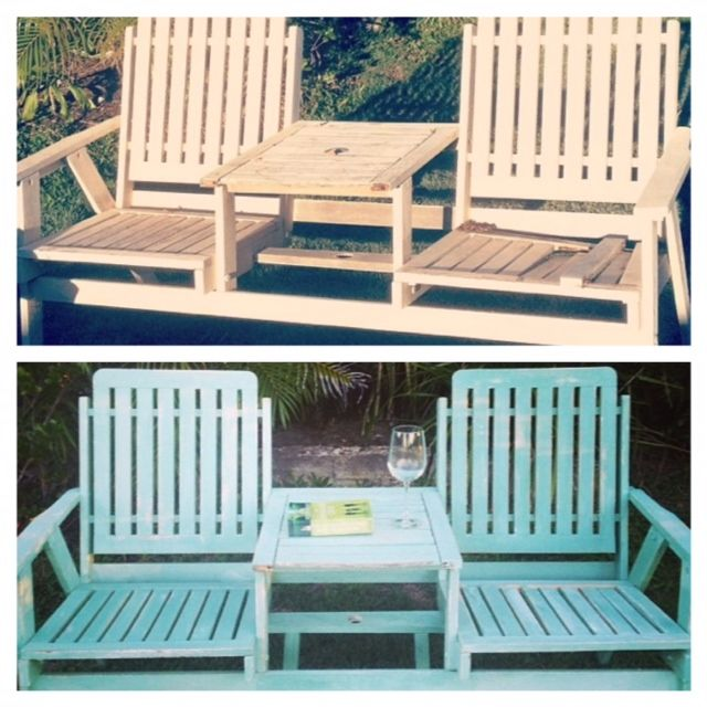 Another roadside find! This cute double chair was being thrown out  by neighbours. It had some pieces missing which were easily replaced. I then managed to stretch out some leftover green paint I had my adding white to make it aqua. I love the end result!
