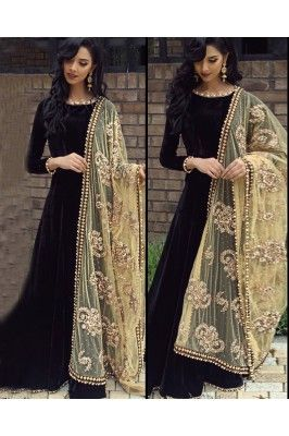Look pretty like never before wearing this black and golden embroidered semi stitched satin ethnic gown.