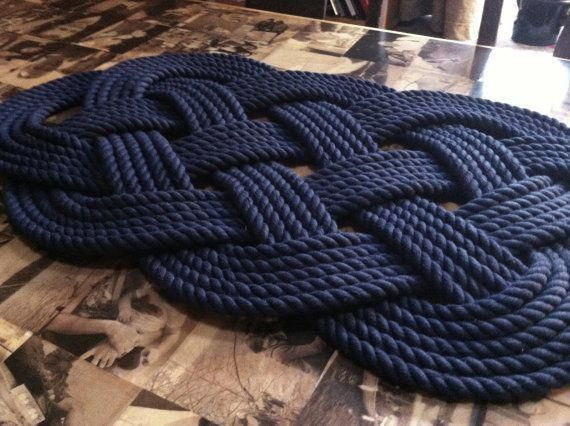 This Is Made From Navy Blue Cotton 1 2 Inch Rope It Is The Classic Ocean Mat Design Used By Sailors Over The Centuries Importan Nautical Bathroom Decor Navy Bathroom Nautical Bedroom