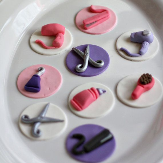 Fondant Hair Stylist Scissors Brushes Flat Iron And Dryer Toppers For Decorating Cupcakes Brownies Or Cookies