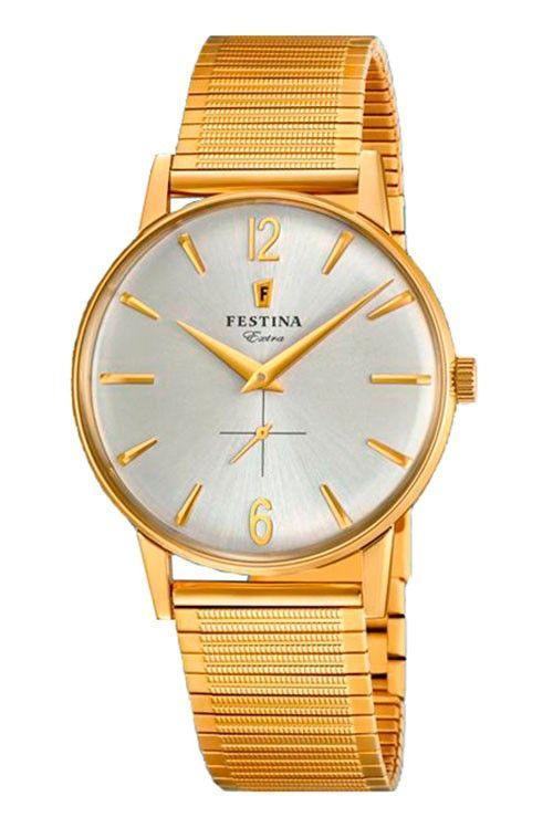 Reloj Dorado malla elástica clasico hombre