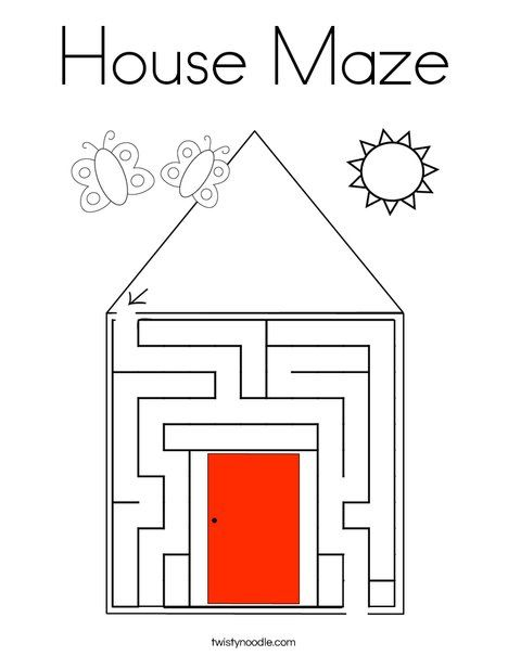 House Maze Coloring Page - Twisty Noodle | Coloring pages ...