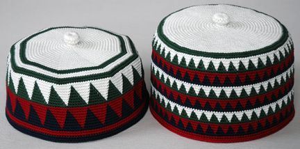 Bamun inspired hats tapestry crocheted with Cotton Classic by Tahki.