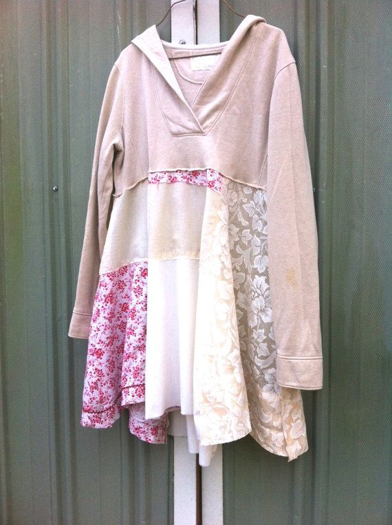 upcycled Hoodie Dress / romantic Upcycled / Patchwork by CreoleSha