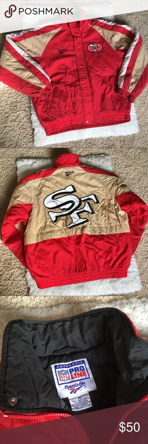 "Pro line Reebok SF 49ers Jacket Pro line Reebok SF 49ers Jacket - Size Medium - Tear on right sleeve. - Says ""SF"" on the back - Color: Red, Tan, White - Team: San Francisco 49ers Pro Line Reebok Jackets & Coats"