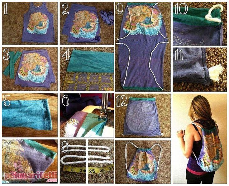 Tişörtten sırt çantası yapımı | El Yapımı | Pek Marifetli!