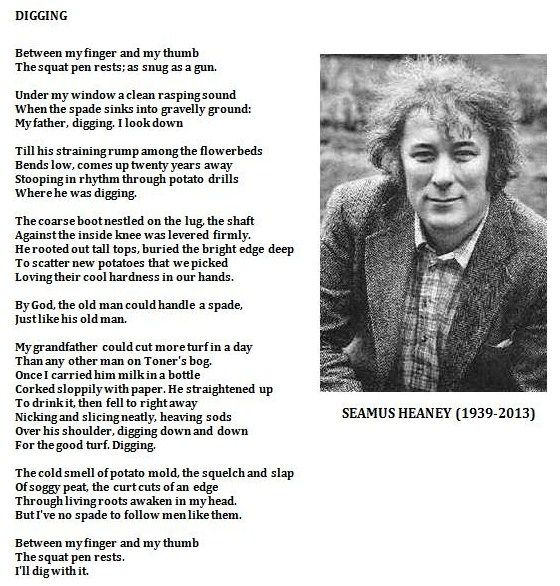 "Digging, by Seamus Heaney.  ""Between my finger and my thumb The squat pen rests.  I'll dig with it."""