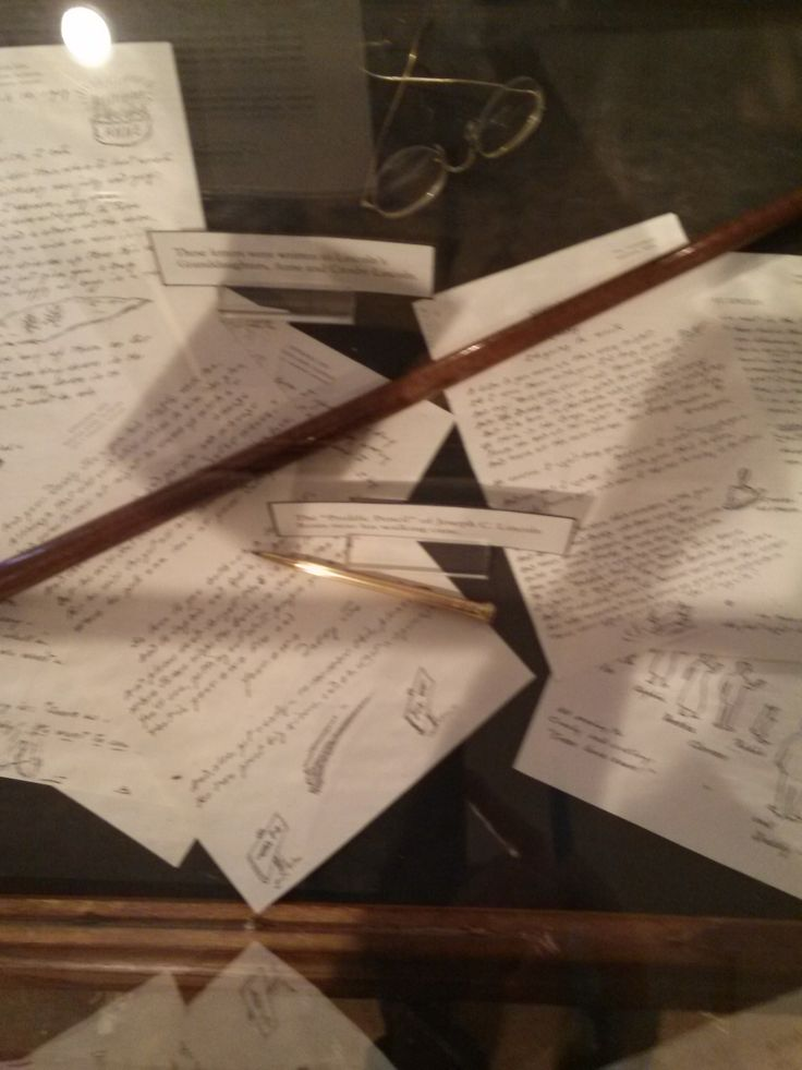 "2014 photo: Lincoln's walking cane, glasses, his ""prolific pencil"" that he wrote with as well as letters that he wrote to his granddaughters. #lincoln, #chathamhistoricalsociety, #atwoodhouse, #josephlincoln, #capecod, #chatham"