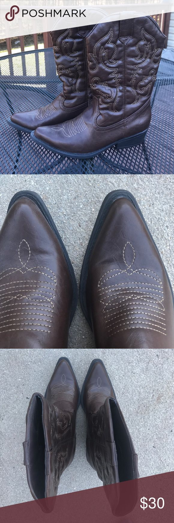 """Madden Girl brown western boot Super cute pointed toe Madden Girl brown western boot, women's size 7.5. Pull on boot with a slightly padded insole. Great condition. Worn once as part of a bridesmaid ensemble for a """"country"""" themed wedding but just not my personal style to keep. Few very small scuff marks located on back left heel of boot as pictured in photo. Super comfortable! Madden Girl Shoes Heeled Boots"""
