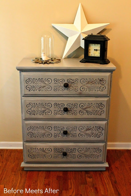 Before Meets After: Paris Grey Carved Dresser But don't get me wrong, it was NOT love at first sight.