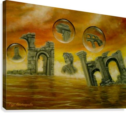 Walls in style, ideas, fine art, oil painting, canvas print, for sale, colorful, orange, golden, ancient, archeological, historical, ruins, temples, finds, buildings, era, sea, sky, sunset, bubbles, fantasy, scene, whimsical,surreal, figurative, contemporary, modern, painting, artwork, canvas print, Painting