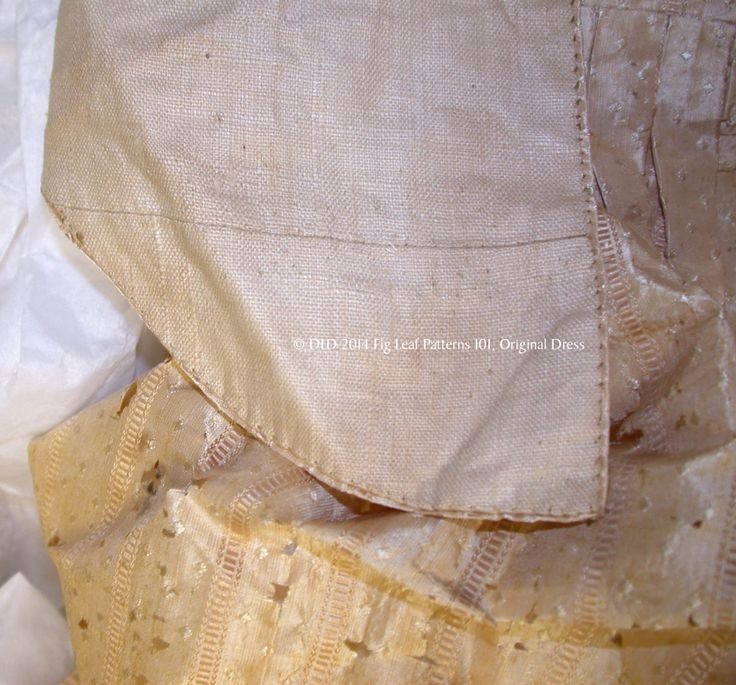 Pieced lining of the front bodice.  Skirt shows age damage to silk of gown c. 1770s.  Sumter County Museum, SC.