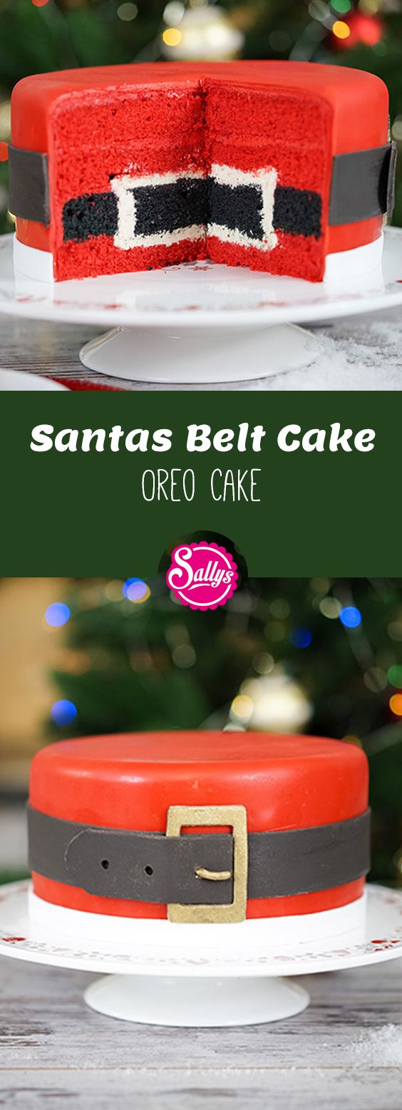 Diese Motivtorte sieht von außen aus wie der Bauch vom Weihnachtsmann mit seinem schwarzen Gürtel. Im Innern der Torte wiederholt sich das Muster, somit ist die Torte eine Inside Surprise Cake.
