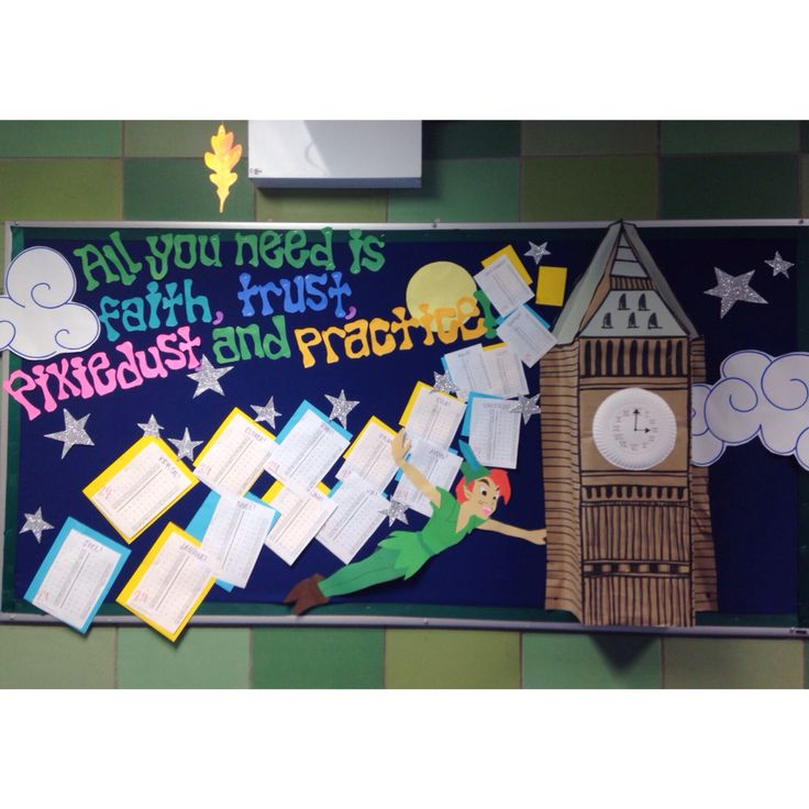 "Bulletin board! Peter pan, ""All you need is faith, trust, and pixie dust."""