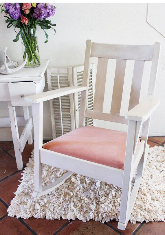 Charming Vintage Rocking Chair White Pink Nursery Shabby By RecaptureBeauty