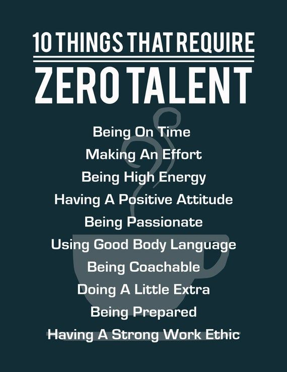 10 Things That Require Zero Talent Inspirational Print Motivational Poster Typography Art Office Wall Decor Success Tips Coffee Cup Inspirational Prints Motivational Posters 10 Things