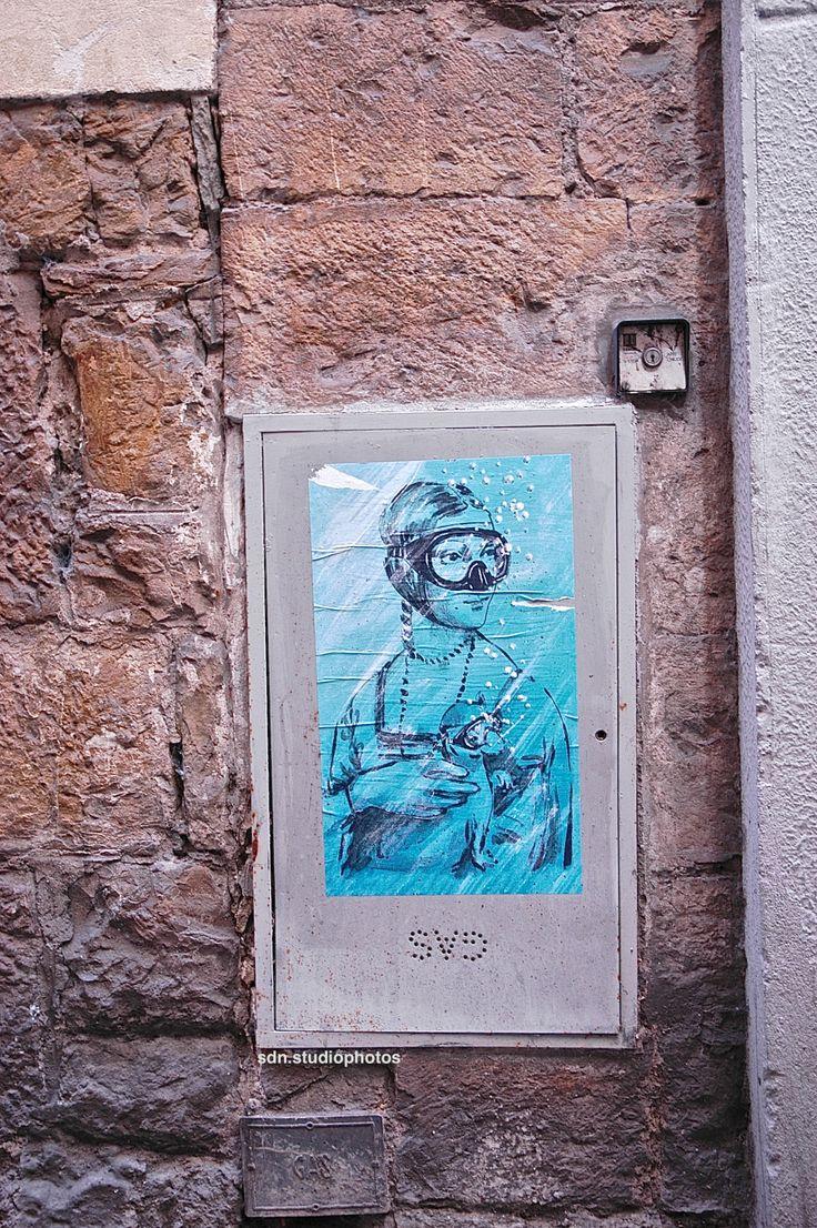 """Blub, """"L'arte sa nuotare"""". La Dama con l'ermellino di Leonardo da Vinci in versione subacquea, Via di San Niccolò, Firenze (Toscana, Italy) - by Silvana, aprile 2014"""