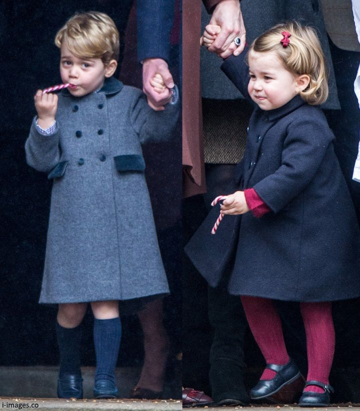 hrhduchesskate: Christmas Service, St Mark's, Englefield, December 25, 2016-Prince George and Princess Charlotte