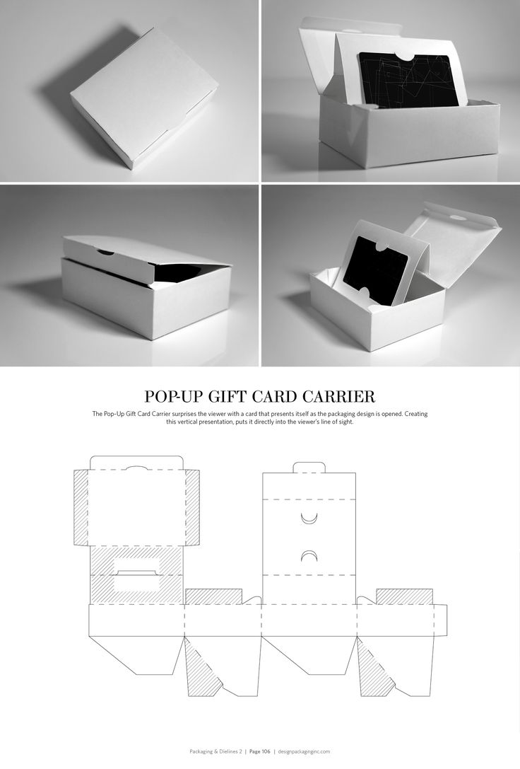 Pop-Up Gift Card Carrier – FREE resource for structural packaging design dielines