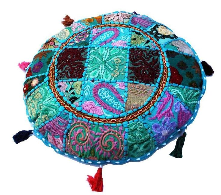 """Patchwork Cushion Cover 18"""" Indian Mandala Round Floor Pillow Cover Room Decor #Unbranded #Bohemian"""