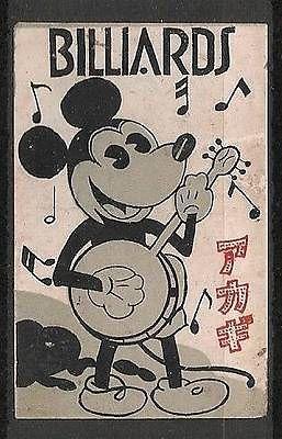 Old Matchbox Label japan Mickey