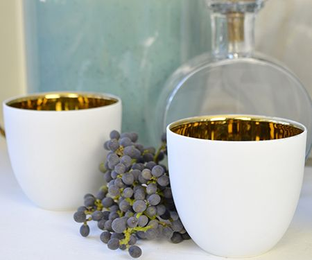 Dark Gold Lined Pure White Tealights - sumptuous!