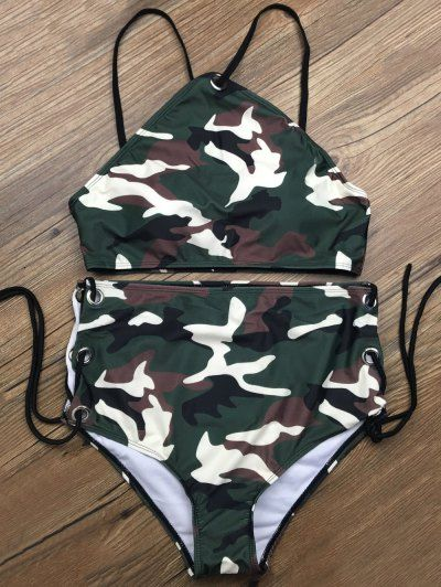 SHARE & Get it FREE | Lace Up High Waisted Camo Swimsuits - Camouflage ColorFor Fashion Lovers only:80,000+ Items • New Arrivals Daily Join Zaful: Get YOUR $50 NOW!