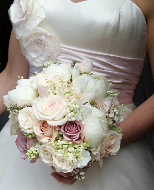 White Peach Pink Flower Wedding Altar: Ultra Romantic Bridal Bouquet: White Peonies, White Lily