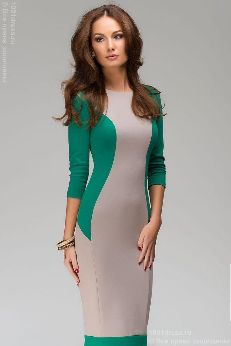 Платье-футляр бежевое с зелеными вставками. Бежевый в интернет магазине Платья для самых красивых 1001dress.Ru