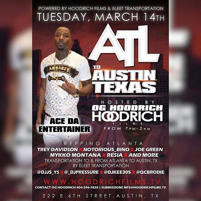 """@hoodrichfilms & @eleet_transportation ATL TO Austin Texas """"EXPRESS SPRINTERS"""" BOOK YOUR SEAT NOW ONLY $500 ROUND TRIP FROM ATLANTA GA TO AUSTIN TEXAS 🎥 STAGES FOR THE WEEK ARE $500 FOR THE LEFT OVER SLOTS TO PERFORM 15 MINS 👈📽📽📽📽📽📽📽📽📽 Tuesday March 14th Welcome To South By Southwest  Hoodrich Films (Pm)  HOODRICH FILMS ATX Radio (Am)  Weds 3/15  Hoodrich Films (AM-PM)  Coast2Coast (Pm)  Ugly God (Pm)  YFN Stage (Pm)  Hoodrich Films (VIDEO SHOOT) @acedaentertainer AND RADIO…"""