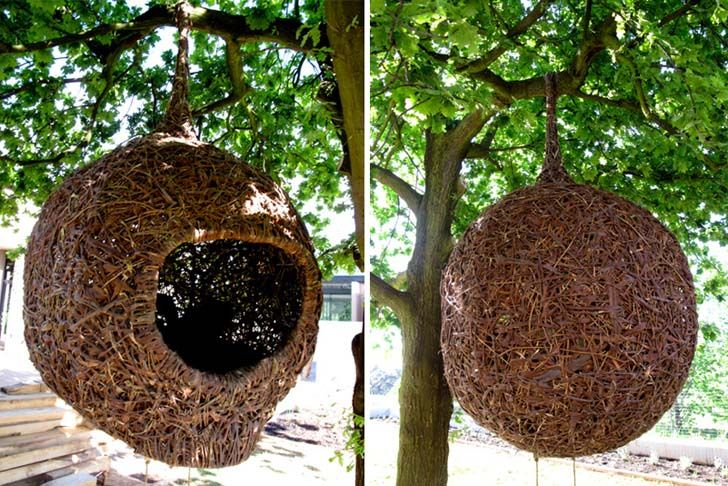 Human Nests from Animal Farm in South Africa. Cozy human hangouts, large enough for two adults, biodegradable, hang from trees.