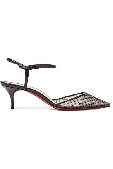 Christian Louboutin - Riverina 55 Leather-trimmed Embroidered Mesh Pumps - Black - IT