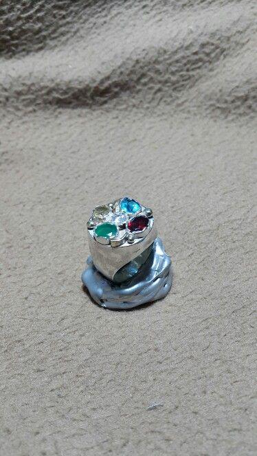 Sitrin,& granat&akuamarin&krizopras&zirkon taşlı gümüş yüzük