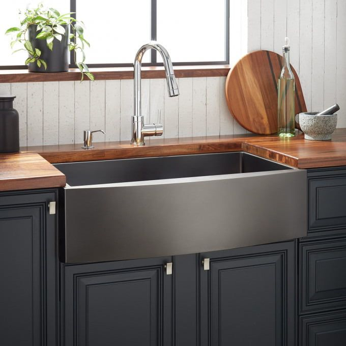 36 Atlas Stainless Steel Farmhouse Sink Curved Apron Gunmetal Stainless Steel Farmhouse Sink Farmhouse Sink Kitchen Farmhouse Sink