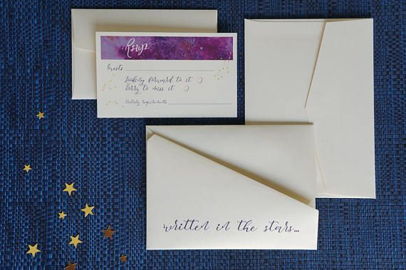 Wedding invitation Galaxy invitations Custom invitations Origami invitations Star invitations Constellation invitations