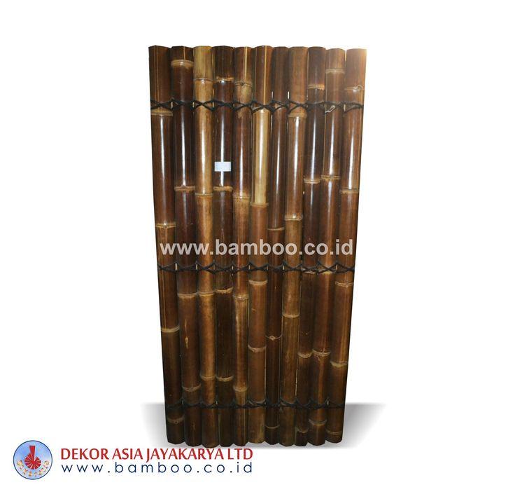 Black half bamboo fence 3 back slats black coco rope