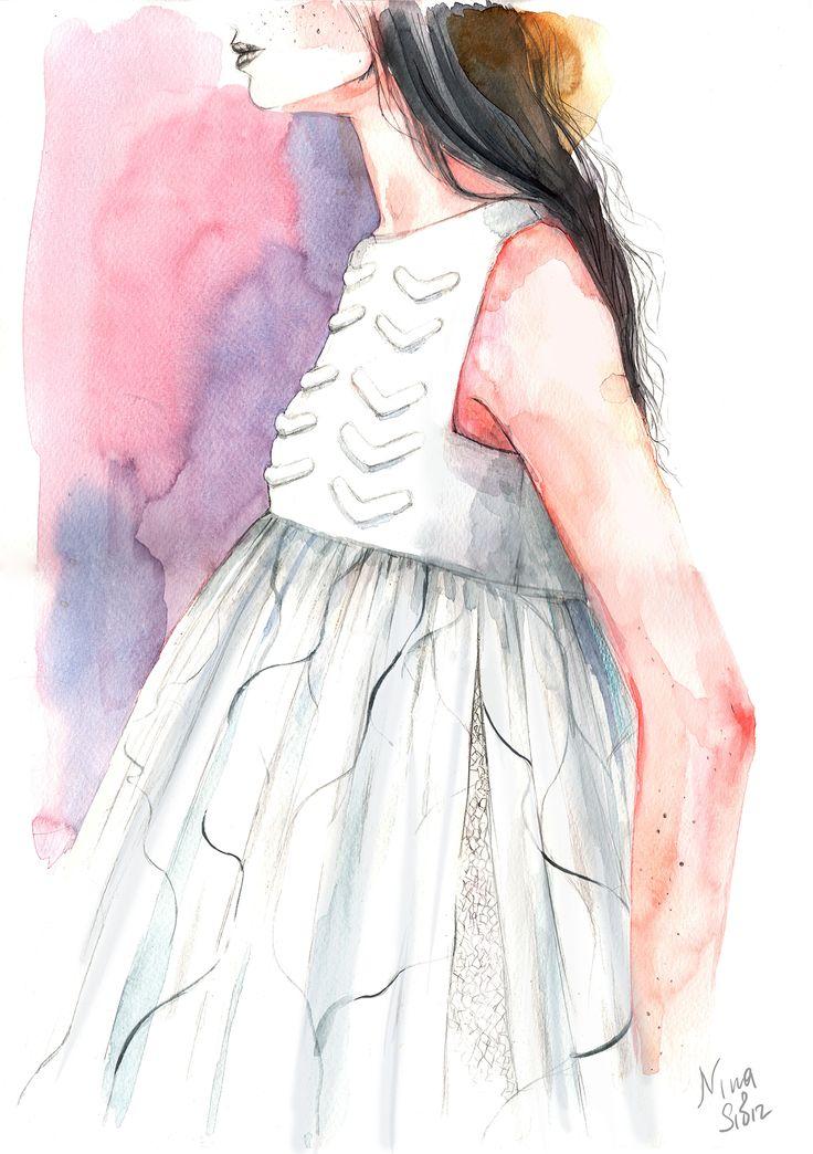 #watercolor #violet #fashion #illustration  By Nina Sibiratkina