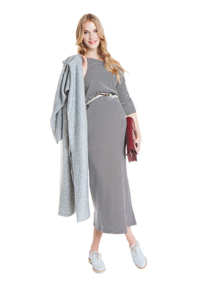 nanarise maternity | proud mom to be | Olympia cotton dress with thin stripes | SHOP |