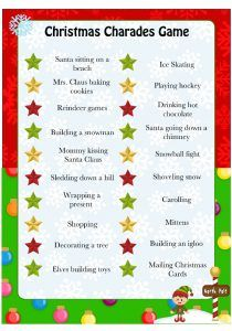christmas charades free printable game for kids