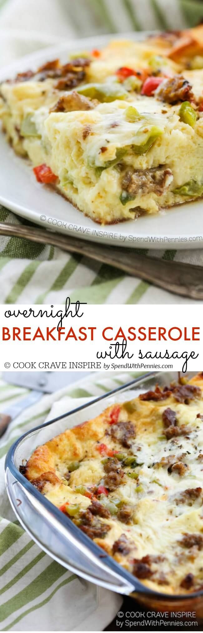 This Overnight Breakfast Casserole with sausage, peppers, italian seasoning and cheese is the perfect make ahead breakfast idea! Easy to make & delicious! #easybreakfast #ad
