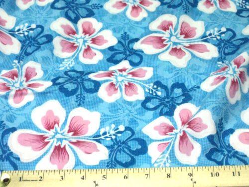 BLUE-PINK-WHITE-BALI-HAWAII-FLOWERS-COTTON-45-W-FABRIC-SHIRT-DRESS-DRAPE-DECOR